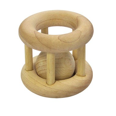 natural woodencage rattle